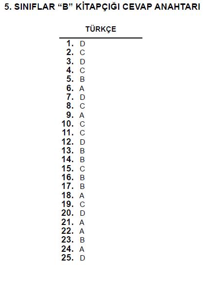 5. Sınıf PYBS - Bursluluk Cevap Anahtarı - 10 Haziran 2012 6