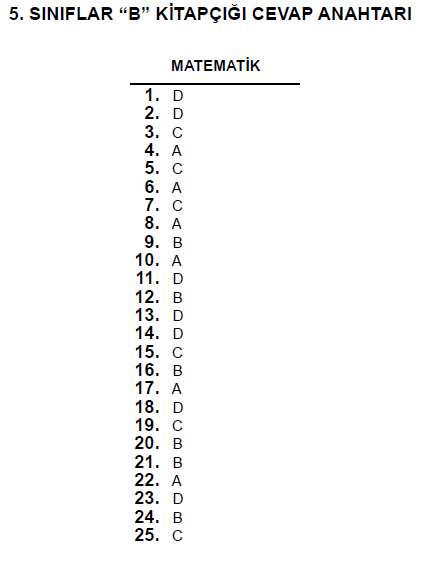 5. Sınıf PYBS - Bursluluk Cevap Anahtarı - 10 Haziran 2012 7