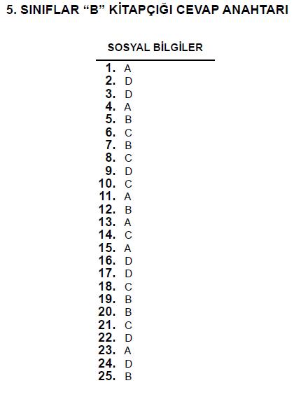 5. Sınıf PYBS - Bursluluk Cevap Anahtarı - 10 Haziran 2012 9
