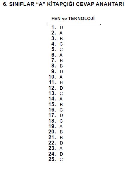 6. Sınıf PYBS - Bursluluk Cevap Anahtarı - 10 Haziran 2012 4