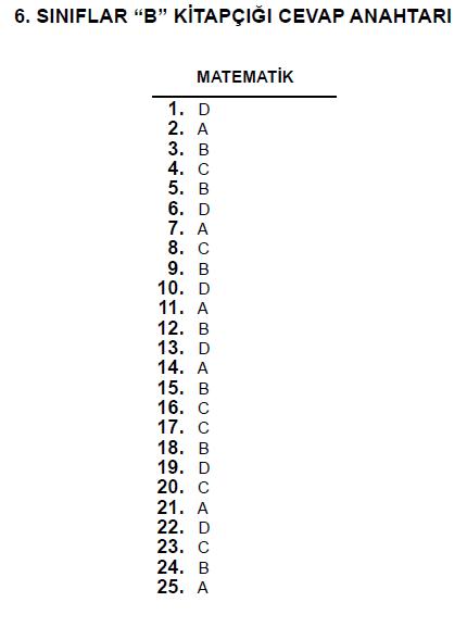 6. Sınıf PYBS - Bursluluk Cevap Anahtarı - 10 Haziran 2012 7