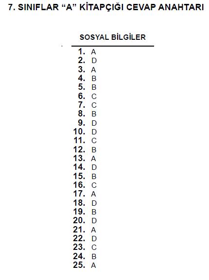 7. Sınıf PYBS - Bursluluk Cevap Anahtarı - 10 Haziran 2012 5