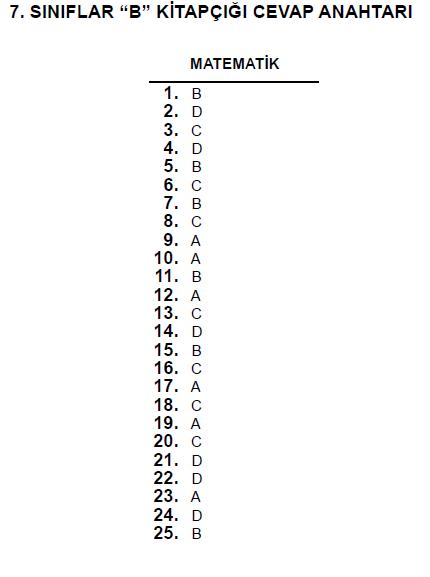 7. Sınıf PYBS - Bursluluk Cevap Anahtarı - 10 Haziran 2012 7