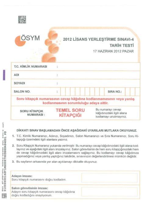 2012 LYS-4 Sosyal Bilimler Cevap Anahtarı 1