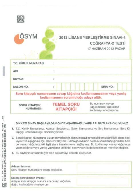 2012 LYS-4 Sosyal Bilimler Cevap Anahtarı 6