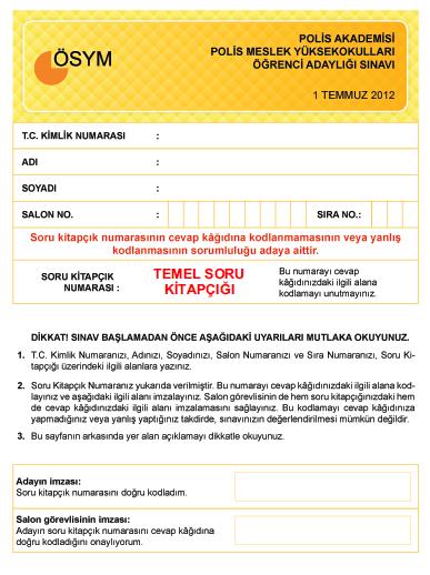 1 Temmuz 2012 PMYO Cevap Anahtarı 1