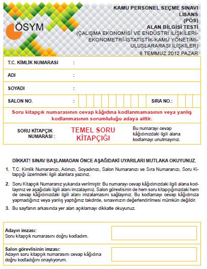 2012 Çalışma Ekonomisi ve Endüstri İlişkileri-Ekonometri-İstatistik-Kamu 1