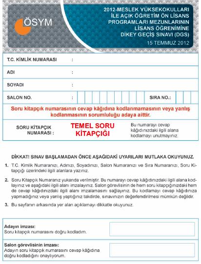 2012 DGS - Dikey Geçiş Sınavı Cevap Anahtarı 1