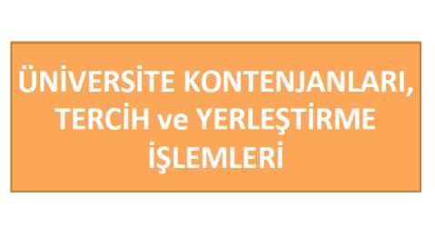 2012 Üniversite Kontenjanları, Tercih ve Yerleştirme İşlemleri 1