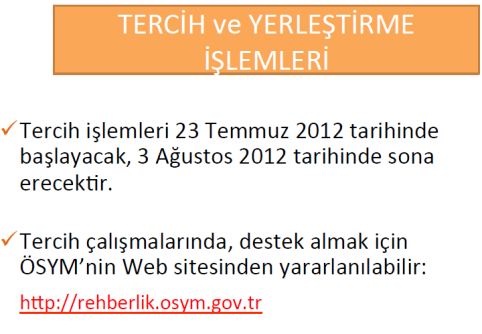 2012 Üniversite Kontenjanları, Tercih ve Yerleştirme İşlemleri 7