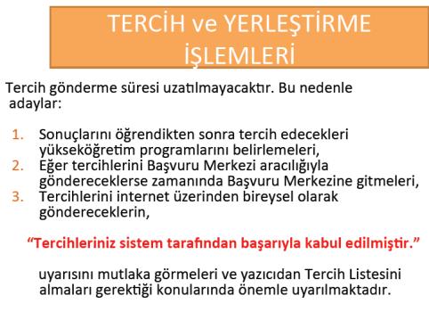2012 Üniversite Kontenjanları, Tercih ve Yerleştirme İşlemleri 9