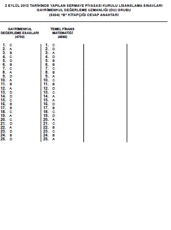 1-2 Eylül 2012 SPK Sınavı Cevapları 12