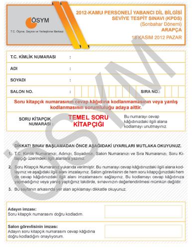 18 Kasım 2012 KPDS Cevap Anahtarı 3