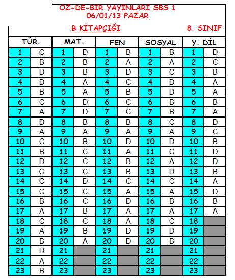2013 Özdebir 8.Sınıf 1. Seviye Belirleme (SBS 8-D/I ) Cevap Anahtarı 3