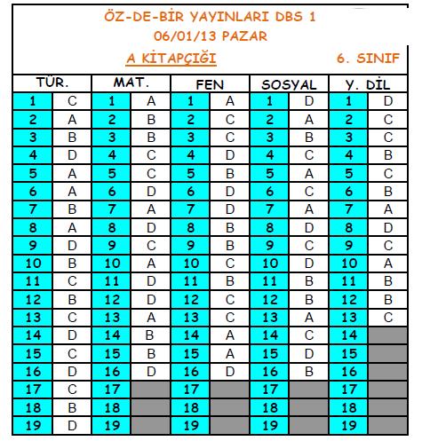 2013 Özdebir 6.Sınıf 1. Düzey Belirleme (DBS 6-D/I ) Cevap Anahtarı 2