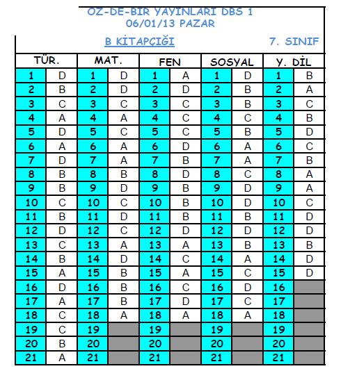 2013 Özdebir 6.Sınıf 1. Düzey Belirleme (DBS 6-D/I ) Cevap Anahtarı 5