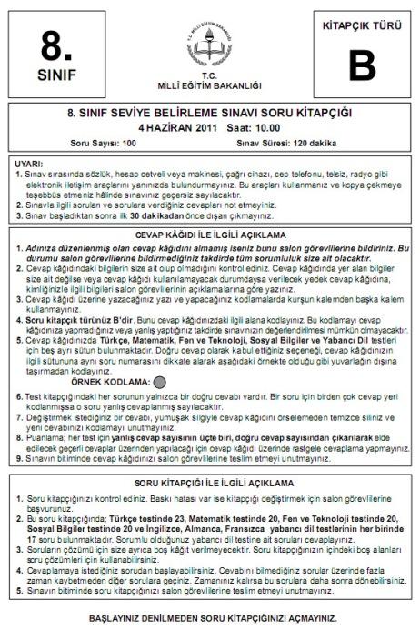 4 Haziran 2011 İlköğretim 8 SBS Sınav Cevapları - GALERİ 3