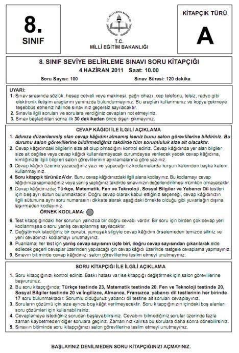 4 Haziran 2011 İlköğretim 8 SBS Sınav Cevapları - GALERİ