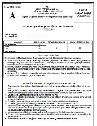 17 Mart 2013 Diyanet Yeterlilik Sınavı Cevap Anahtarı 2