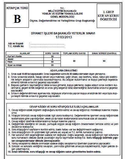 17 Mart 2013 Diyanet Yeterlilik Sınavı Cevap Anahtarı 4