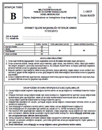 17 Mart 2013 Diyanet Yeterlilik Sınavı Cevap Anahtarı 8