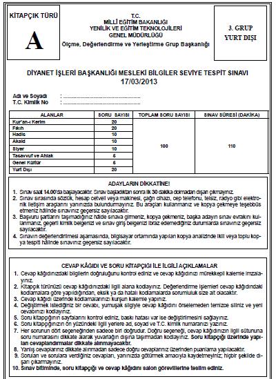 17 Mart 2013 MBSTS - Diyanet Mesleki Bilgiler Seviye Tespit Sınavı Cevap 11