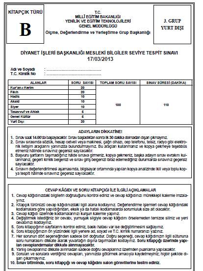 17 Mart 2013 MBSTS - Diyanet Mesleki Bilgiler Seviye Tespit Sınavı Cevap 13