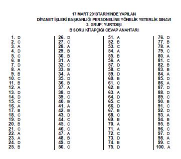 17 Mart 2013 MBSTS - Diyanet Mesleki Bilgiler Seviye Tespit Sınavı Cevap 14