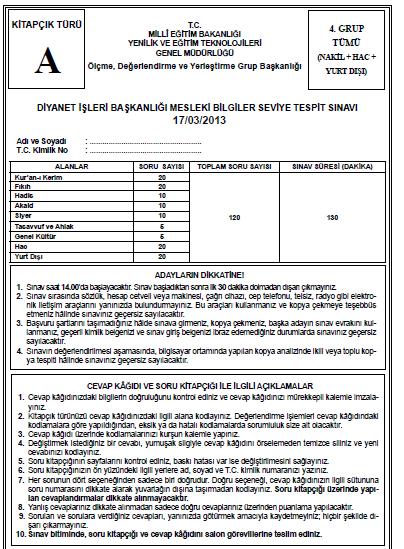 17 Mart 2013 MBSTS - Diyanet Mesleki Bilgiler Seviye Tespit Sınavı Cevap 15