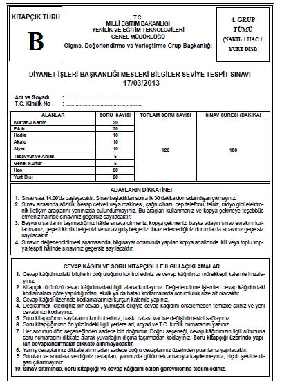 17 Mart 2013 MBSTS - Diyanet Mesleki Bilgiler Seviye Tespit Sınavı Cevap 17