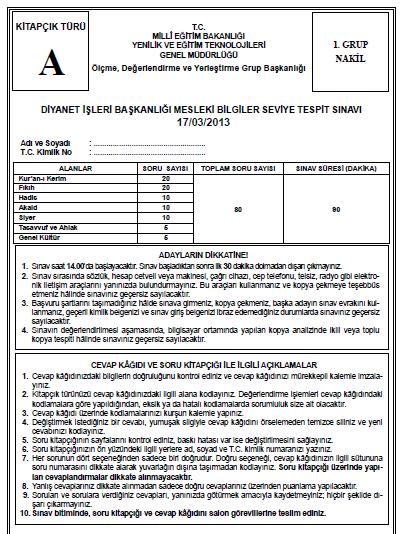 17 Mart 2013 MBSTS - Diyanet Mesleki Bilgiler Seviye Tespit Sınavı Cevap 3