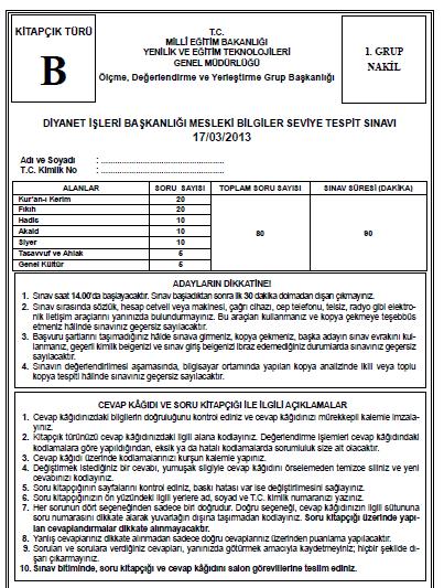17 Mart 2013 MBSTS - Diyanet Mesleki Bilgiler Seviye Tespit Sınavı Cevap 5