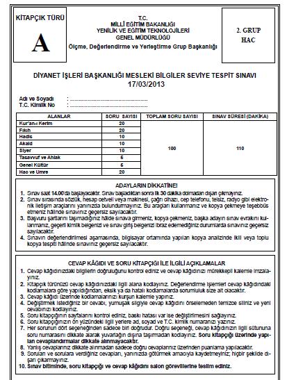 17 Mart 2013 MBSTS - Diyanet Mesleki Bilgiler Seviye Tespit Sınavı Cevap 7