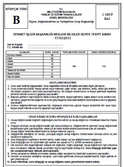 17 Mart 2013 MBSTS - Diyanet Mesleki Bilgiler Seviye Tespit Sınavı Cevap 9