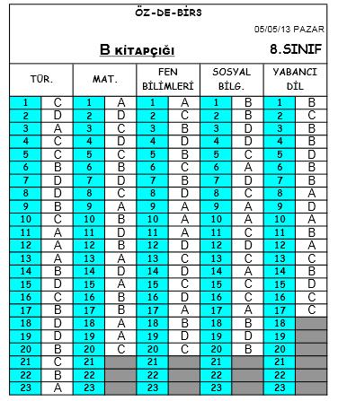 5 Mayıs 2013 Özdebir 8. Sınıf SBS-3 Cevap Anahtarı 3