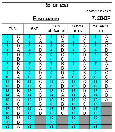 5 Mayıs 2013 Özdebir 7. Sınıf DBS-3 Cevap Anahtarı 5