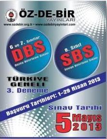 5 Mayıs 2013 Özdebir 6. Sınıf DBS-3 Cevap Anahtarı 1