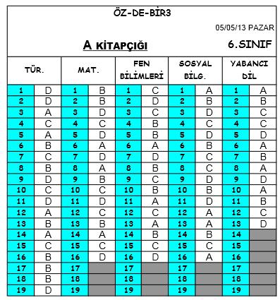 5 Mayıs 2013 Özdebir 6. Sınıf DBS-3 Cevap Anahtarı 2