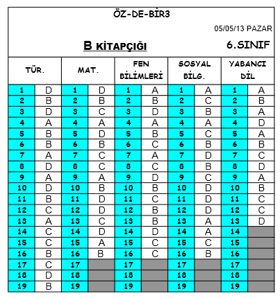 5 Mayıs 2013 Özdebir 6. Sınıf DBS-3 Cevap Anahtarı 3