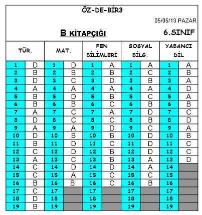 5 Mayıs 2013 Özdebir 6. Sınıf DBS-3 Cevap Anahtarı 5