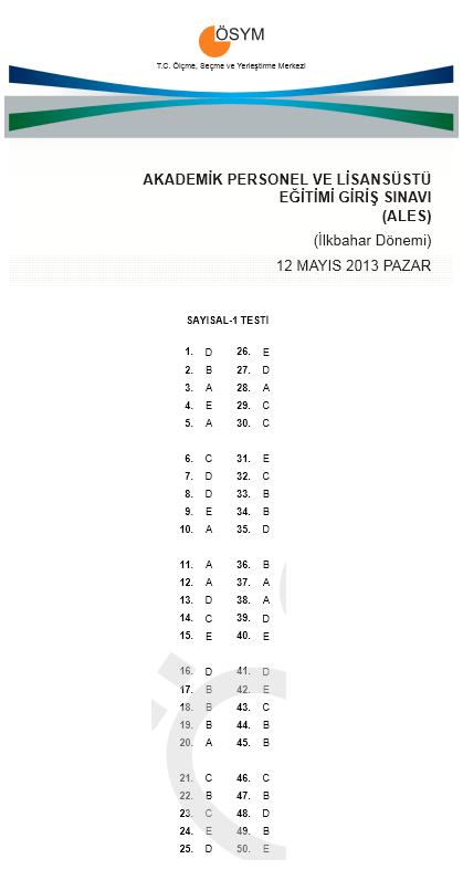 12 Mayıs 2013 Ales Cevap Anahtarı 2