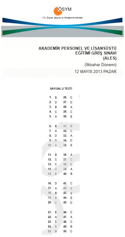12 Mayıs 2013 Ales Cevap Anahtarı 3