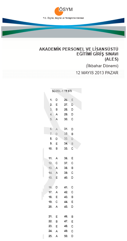 12 Mayıs 2013 Ales Cevap Anahtarı 4