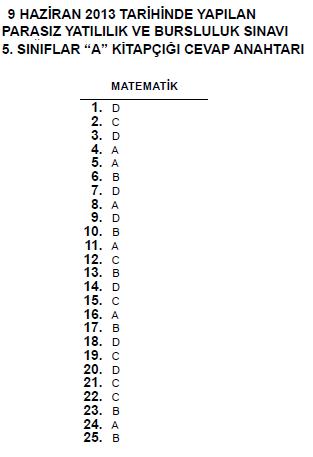5. Sınıf PYBS - Bursluluk Cevap Anahtarı - 9 Haziran 2013 4