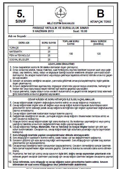5. Sınıf PYBS - Bursluluk Cevap Anahtarı - 9 Haziran 2013 7