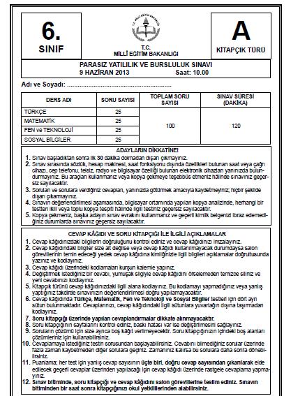 6. Sınıf PYBS - Bursluluk Cevap Anahtarı - 9 Haziran 2013 2