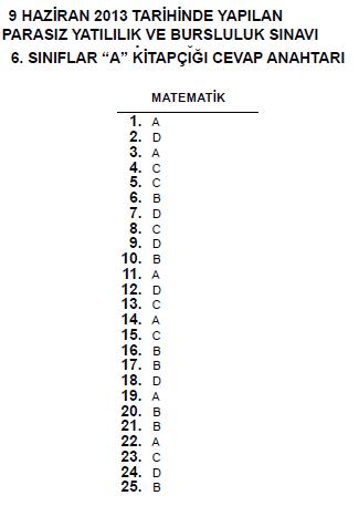 6. Sınıf PYBS - Bursluluk Cevap Anahtarı - 9 Haziran 2013 4
