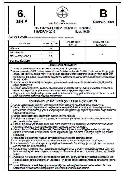 6. Sınıf PYBS - Bursluluk Cevap Anahtarı - 9 Haziran 2013 7