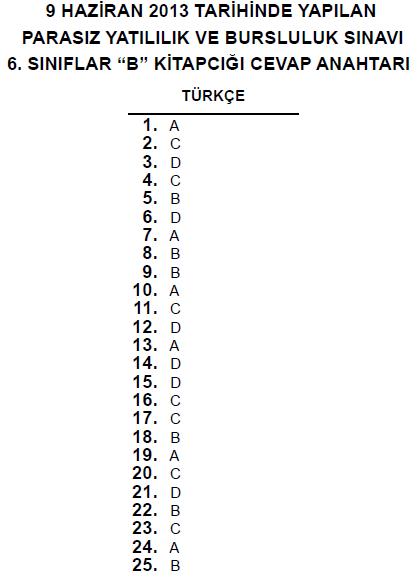 6. Sınıf PYBS - Bursluluk Cevap Anahtarı - 9 Haziran 2013 8