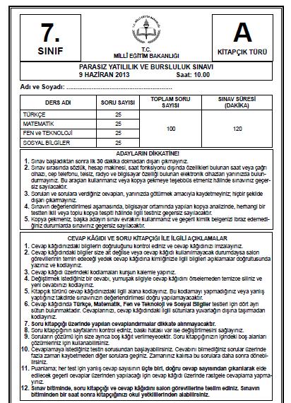 7. Sınıf PYBS - Bursluluk Cevap Anahtarı - 9 Haziran 2013 2